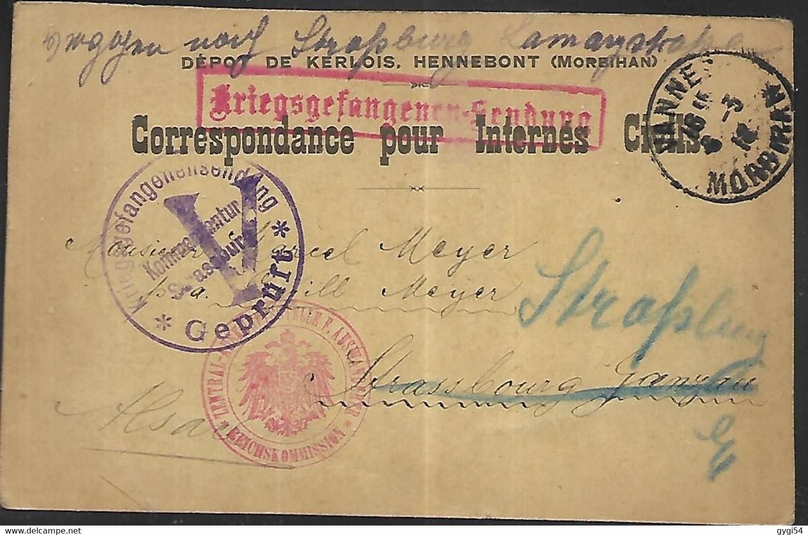 Censure  Correspondance Pour Internés Civils Dépôt De Kerlois à Hennebont Dans Le Morbihan  06 03 1916 - Hennebont