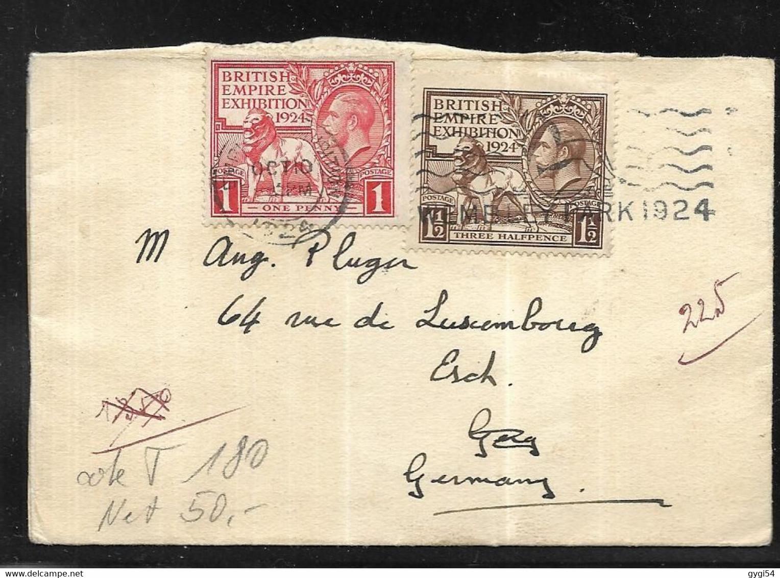 Grande - Bretagne Lettre Du 10 Octobre 1924 De  Wembley Park  à LONDRES   POUR   ESCH ( 506 H En Rhénanie - Palatinat ) - Covers & Documents