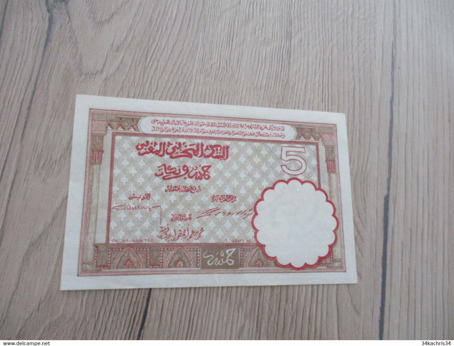 Billet Ancien Maroc Très Bel état Cinq Francs 01/08/1922 - Morocco