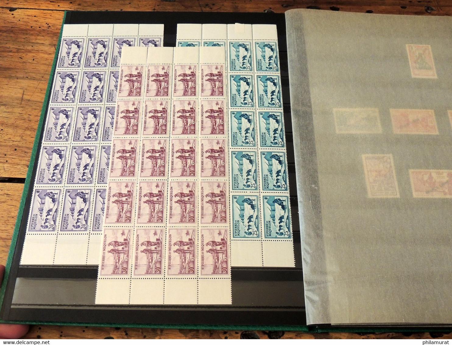 Saint-Pierre-et-Miquelon 1938/40 - Lot Fragments De Feuilles + FRANCE LIBRE ** - Unused Stamps