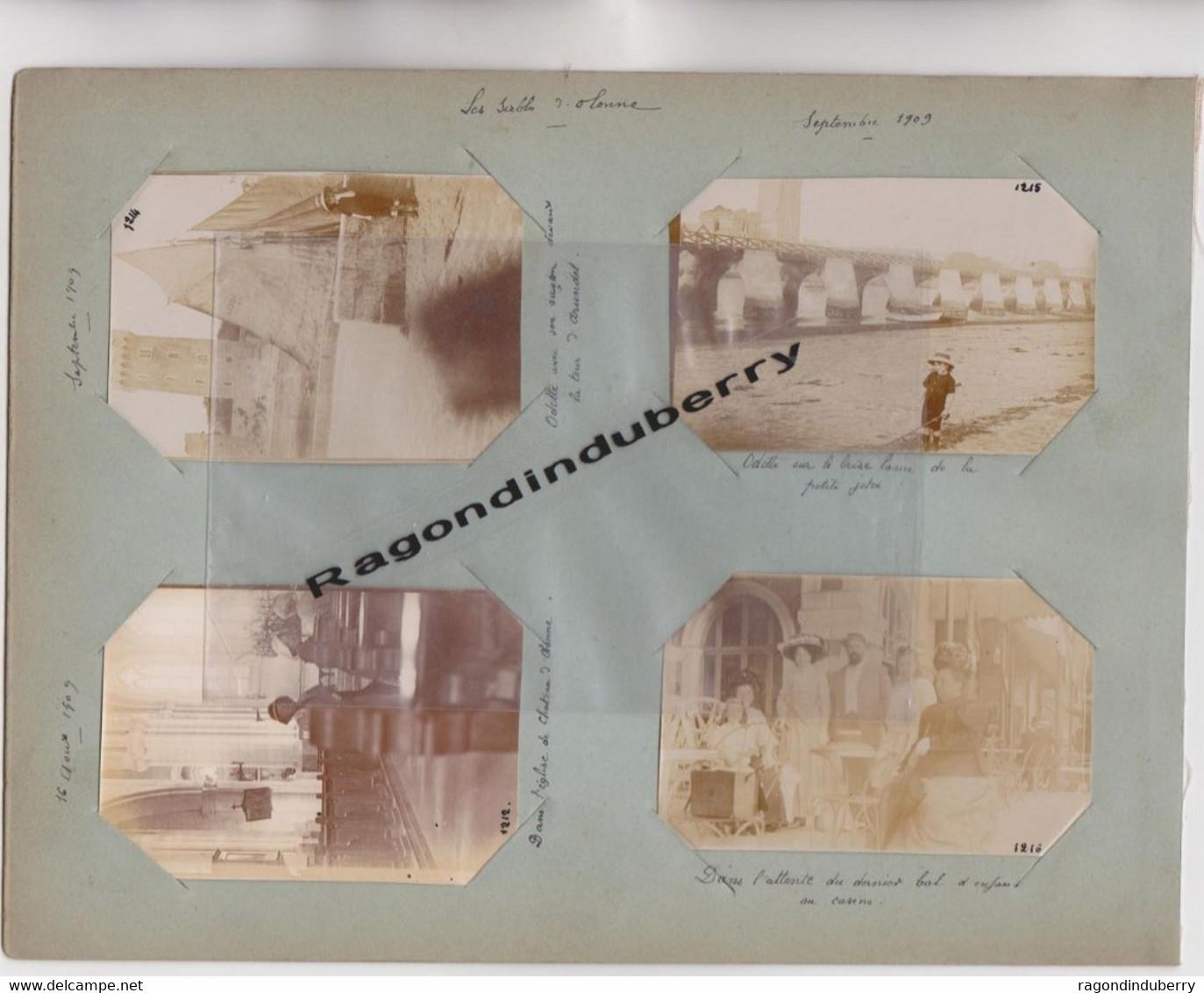 PHOTO ANCIENNE - 85 -  LES SABLES D'OLONNE (Vendée) - Lot De 4 Photos De Voyage En1909  Toutes Commentées  -- - Places