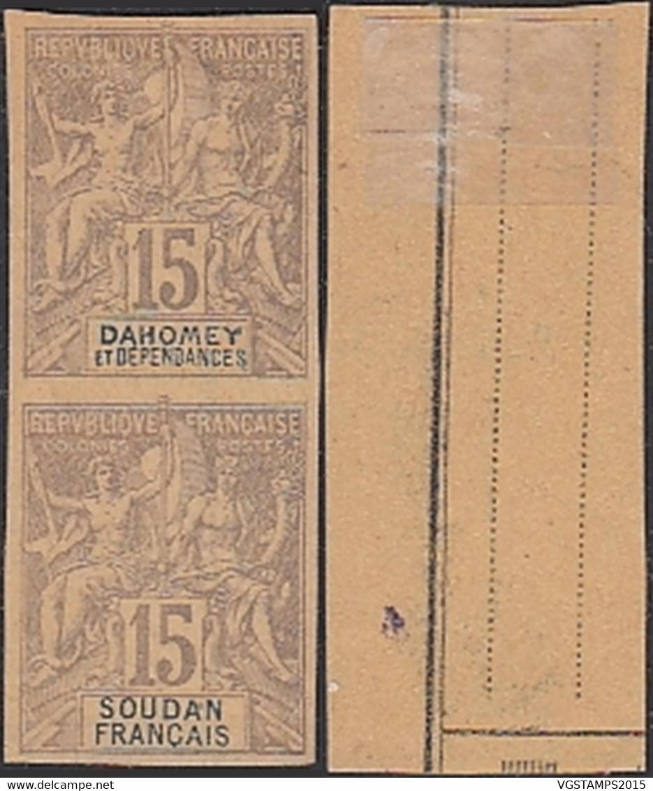 Dahomey 1900-France Colonies - Timbres Neuf A/charnière. Nr.: 3 Essai Dahomey- Se Tenant-Rare.......... (VG) DC-10126 - Unused Stamps