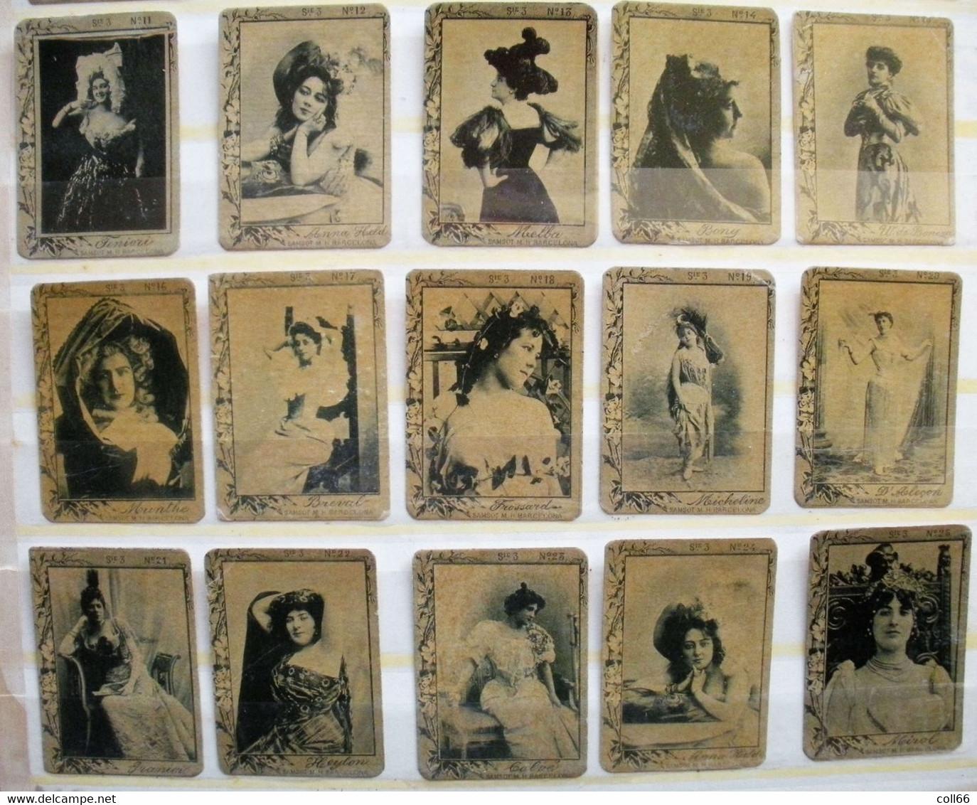 RARE 75 Vignettes Espagnoles Samsot Y Miss Hos Barcelona Actrices Fototipias Spanish Matchbox Série 3 Erinnophilie - Other
