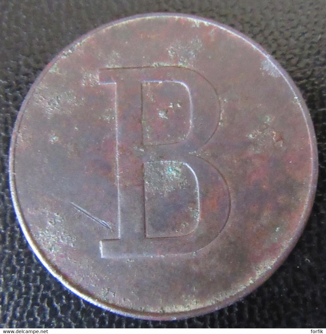 Jeton Monétaire 50c De La Manufacture De Chapeaux De Pailles De La Côte Saint André (Isère) - Revers Au B - Monetary / Of Necessity
