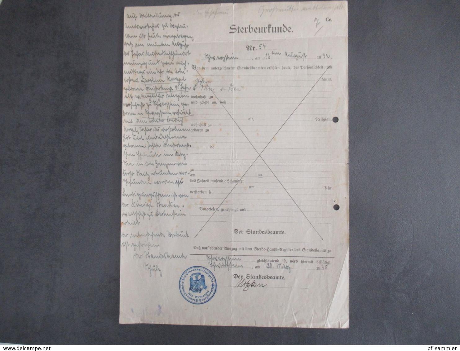 Dokumente DR / Drittes Reich Ostpreußen / Allenstein Masuren Kleine Orte Schönfliess, Schoenbrück, Neukockendorf Usw. - Historical Documents