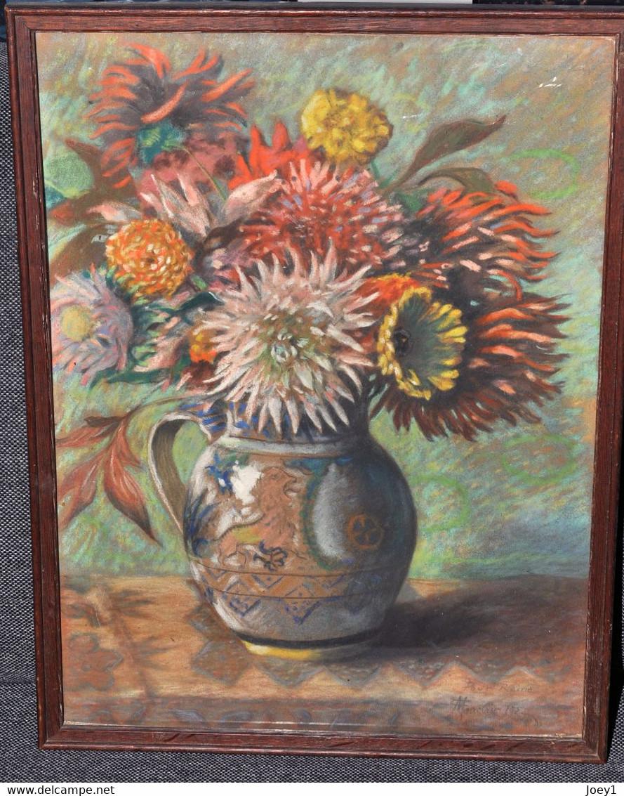 Camille Mauclair Magnifique Bouquet De Fleurs Fusain 1922, 48/36 - Pastels
