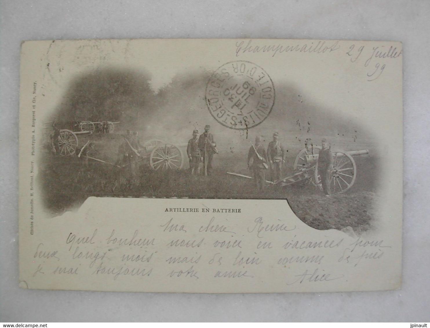 MILITARIA - Carte De 1899 - Artillerie En Batterie (très Animée) - Manoeuvres