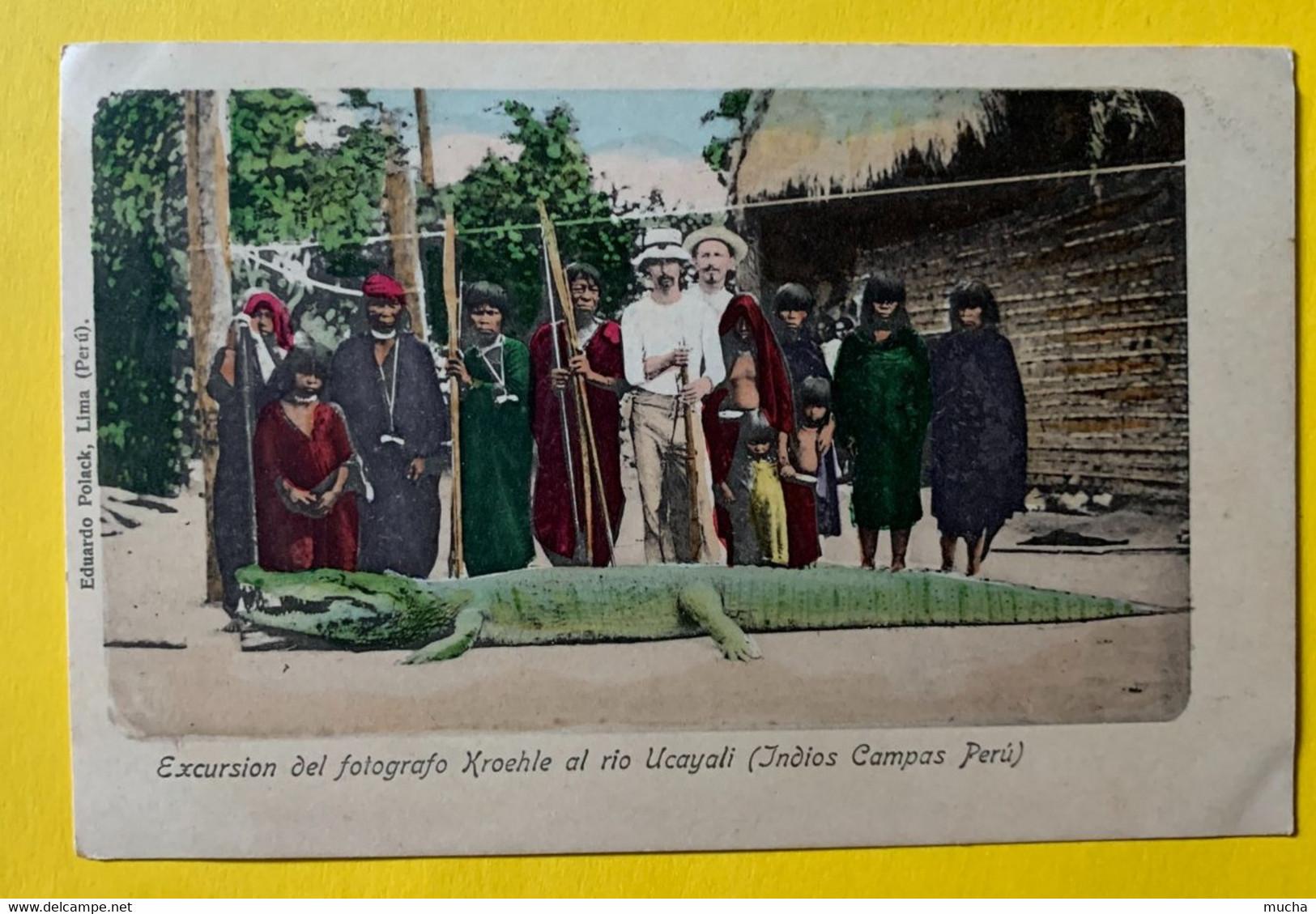 15605 -  Excursion Del Fotografo Kroehle Al Rio Ucayali Indios Campas Peru Retour De La Chasse Au Crocodile - Peru