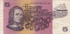 BILLET BANQUE AUSTRALIE,BANK AUSTRALIA,5  DOLLARS,FIVE,1979,numéro QBF 934075 - Emissioni Governative Decimali 1966-...