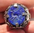 Ethnic Silver Tone Ring With Lapis Engraved Bead - Intaglio - Etnica