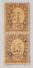 Schweiz Telegraphen-Marke 1868 Probedruck 25c Lila Paar Senkrecht Auf Dünnem Papier Ohne Druck Des Mittelstückes (Wappen - Télégraphe