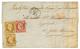 """""""Destination ST PIERRE ET MIQUELON"""" : 1854 1F CARMIN(n°6) + Paire 10c PRESIDENCE N°9 ( Un Timbre Touché, - France"""