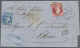 """Griechenland: 1869, Folded Envelope From MALTA With Cds. And Black """"12 1/2"""" Alongside Showing Red Crayon """"100"""" For Taxe"""