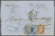 """Griechenland: 1870, Folded Envelope From TRIEST With Oval Ds. Showing Blue Crayon """"70"""" For Taxe On Front, Single 40 L. L"""