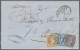 """Griechenland: 1869, Folded Envelope From TRIEST With Oval Ds. Showing Blue Crayon """"70"""" For Taxe On Front, Single 40 L. L"""