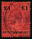 N°36, 1 £. Violet Et Noir Sur Rouge, Oblitéré, TB