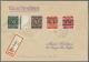 Bizone: 1948, 13 Briefe Mit Ziffernmarken Mit Posthörnchen-Aufdrucken, Dabei 6 Pf. Netz ( V / II - Eckmangel), Ebf. - American/British Zone