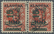 O Memel: 1923, 15 C. Auf 100 M. Auf 25 C. Dunkelzinnoberrot Im Waagerechten Paar Mit Aufdrucktype I Un - Klaïpeda
