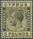 * Zypern: 1928. Freimarke Georg V 5 £ Schwarz Auf Gelb. Tadellos Zentriert Und Gezähnt. Enorm Frisches, Ungebrau - Cipro