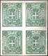 2403 1863 - 15 Cent. Verde, Saggio Sparre In Blocco Di Quattro Su Carta Bianca Senza Filigrana, Senza Gom... - Italy