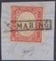 """San Marino 1863 – 40 C. Rosa Vermiglio – Sardegna ( N. A3 ) Su Frammento Annullato Con Bollo In Cartella """"S. Marino"""". Ce - San Marino"""