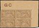 ** Merson. Papier GC. No 120b, Bloc De Quatre Cdf Avec Manchette GC, Superbe - Francia