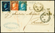 L Lettera Spedita Da Catania Via Messina Per Trieste Il 30.3.1860 Ed Affrancata Per Complessivi 17 Grana Di Cui 14 Per I - Sizilien