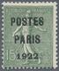 """* Frankreich - Vorausentwertungen: 1922, 15 C. Green With Overprint """"POSTES / PARIS / 1922"""" Unused In - Non Classés"""