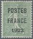 "(*) Frankreich - Vorausentwertungen: 1922, 15 C. Green With Overprint ""POSTES / PARIS / 1922"" Unused Wit - Non Classés"