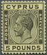 * Zypern: 1928. Freimarke Georg V 5 £ Schwarz Auf Gelb. Tadellos Zentriert Und Gezähnt. Enorm Frisches - Cipro