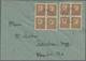 Br Sowjetische Zone - West-Sachsen: 1946, 3 Pf Dkl'gelbbraun, Zwei 4er-Blocks Als Portogerechte MeF Auf - Soviet Zone