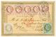 148 1877 1c Lauré(n°25) + 4c Lauré (n°27) + 2c CERES Bande De 5 Obl. GARE DE TOURS Sur CARTE PRECURSEUR Pour L' ANGLETER - 1871-1875 Cérès