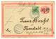 585 1900 CHINA P./Stat 1c Manuscrit Overprint + GERMAN CHINA 5pf Canc. TSINGTAU KIAUTSCHOU To GERMANY. Vf. - Colonia: Kiautchou