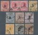 05548 Malaiische Staaten - Straits Settlements - Post In Bangkok: 1883-85 Ten QV Stamps, Wmk Crown CA, Opt - Straits Settlements