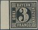 17081 Bayern - Marken Und Briefe: 1849, Probedruck 3 Kreuzer Platte I In Schwarz Statt Blau Ohne Seidenfad - Bavière