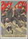"""21057 Ansichtskarten: Propaganda: 1938. Farbkarte """"Mander S'ischt Zeit! Mit Abb. """"Juden Fliehen Vor Hakenk - Partis Politiques & élections"""