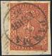 486 1855 - 25 Cent. Bruno Rosso (8), Perfetto, Usato Su Piccolo Frammento A Parma 5/2/1857. G.Oliva, Cer... - Parma