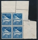 ** VARIETES N°47 - 50c Bleu - Bloc De 4 - CDF - Piquage Oblique - TB - Verlage