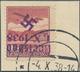 00031 Sudetenland - Karlsbad: Flugpostmarke 1 K? Lilarot Mit KOPFSTEHENDEM Dunkelbläulichviolettem Handste - Sudètes
