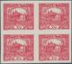 01707 Tschechoslowakei: 1920, Hradcany 20h. Carmine Imperforate, Fresh Colour, Block Of Four With Large Ma - Czechoslovakia