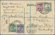 Beleg 1925, 1/2,2,3 D Georg V. Mit Aufdruck ( 2 Werte Mit Eckzahnfehler) Auf 5 Pf. Kaiseryacht-GA-Karte V. Dt.Südwestafr - Stamps