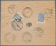 "Irak - Stempel: 1914, ""KERBELA"" C.d.s. On Registered Cover Bearing 1 Pia. Blue And 2 Pia. Slate 1913 - Iraq"