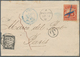 """Costa Rica: 1882 Cover (trimmed 3.5 Cm At Left) To Paris Bearing 1863 2r. Red With Blue """"cross"""" Canc - Costa Rica"""
