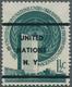 Vereinte Nationen - New York: 1951, Definitive Issue 1½c. Blue Green PRECANCELLED 'UNITED / NATIONS - New York – UN Headquarters