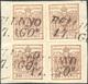 1854 - 30 Cent. Bruno Lillaceo, II Tipo, Carta A Mano (9), Quattro Esemplari Perfetti, Usati Su Fram... - Lombardy-Venetia