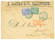 1877 SAGE 5c + 25c Légers Plis Obl. SALONIQUE TURQ. D' EUROPE Sur Env(pd) Pour MARSEILLE. TTB. - Frankreich (alte Kolonien Und Herrschaften)