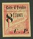 COTE D' IVOIRE : COLIS POSTAUX 8 Francs S/ 1F (n°22) Neuf *. Cote 820€. Tirage 1000. Signé SCHELLER. TB. - France (former Colonies & Protectorates)