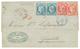 """""""Affrt à 2F10"""" : 1873 CG Paire 25c CERES TTB Margée + 80c CERES(x2) Pd Obl. MQE + MARTINIQUE ST PIERRE Sur Lettre Pour G - Martinica (1886-1947)"""