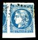 O N°46B, 20c Bleu Type III Rep 2, Grandes Marges Avec Voisin, Pièce Choisie. TTB  Qualité: O - 1870 Bordeaux Printing