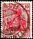 10 Pfg. Germania Kriegsdruck, Schwärzlichrosarot, Gest., Gepr. Oechsner BPP, Mi. 200,-, Katalog: 86IIf O - Duitsland